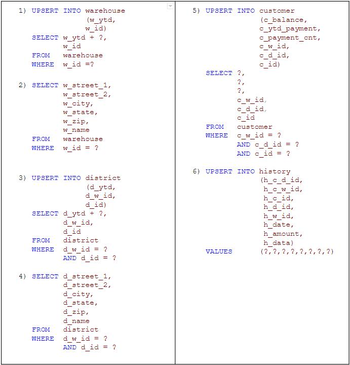 SQL queries for payment transaction
